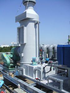 Wet gas scrubber for an ammonia application